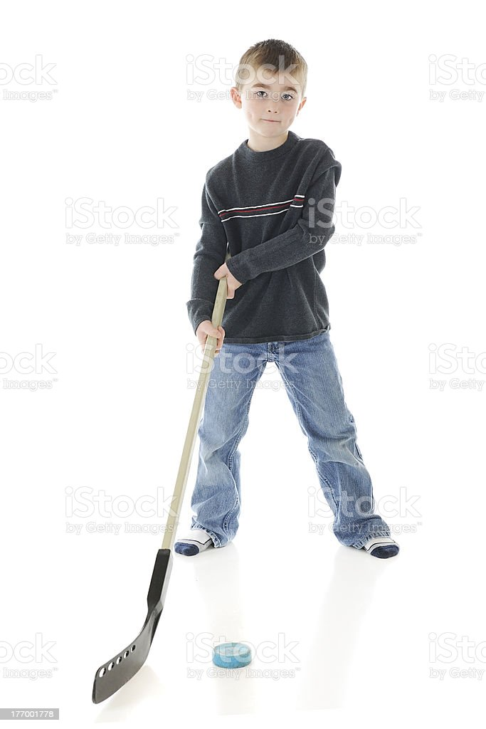 Practicing Hockey royalty-free stock photo