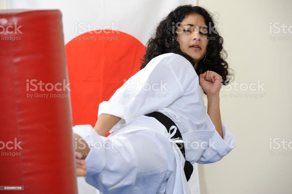 Practicing in the Dojo stock photo