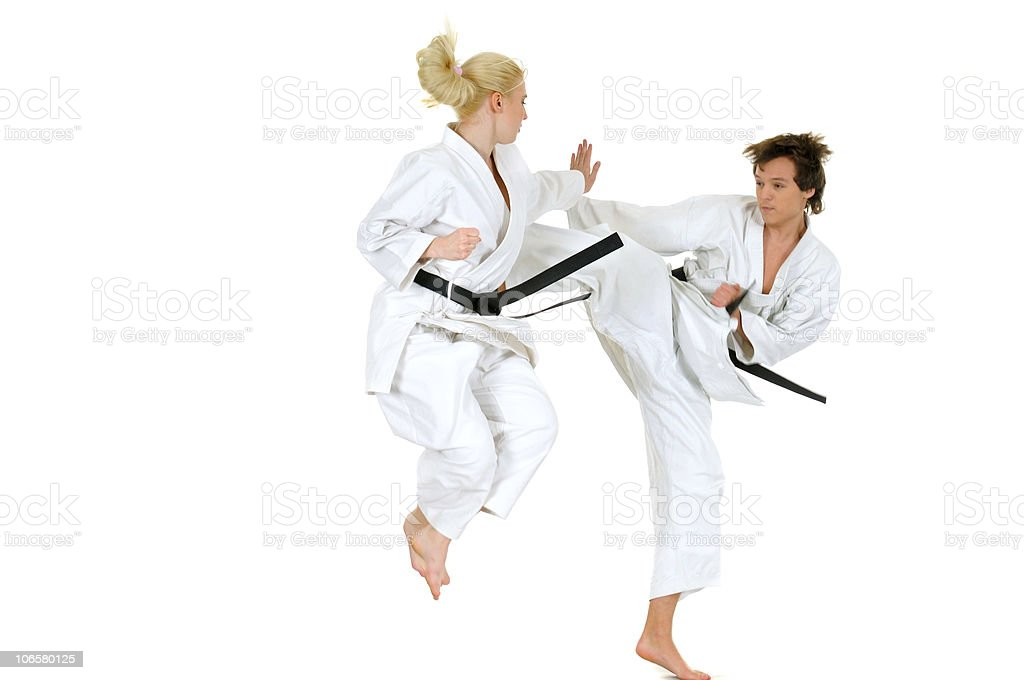 Practicing karate royalty-free stock photo