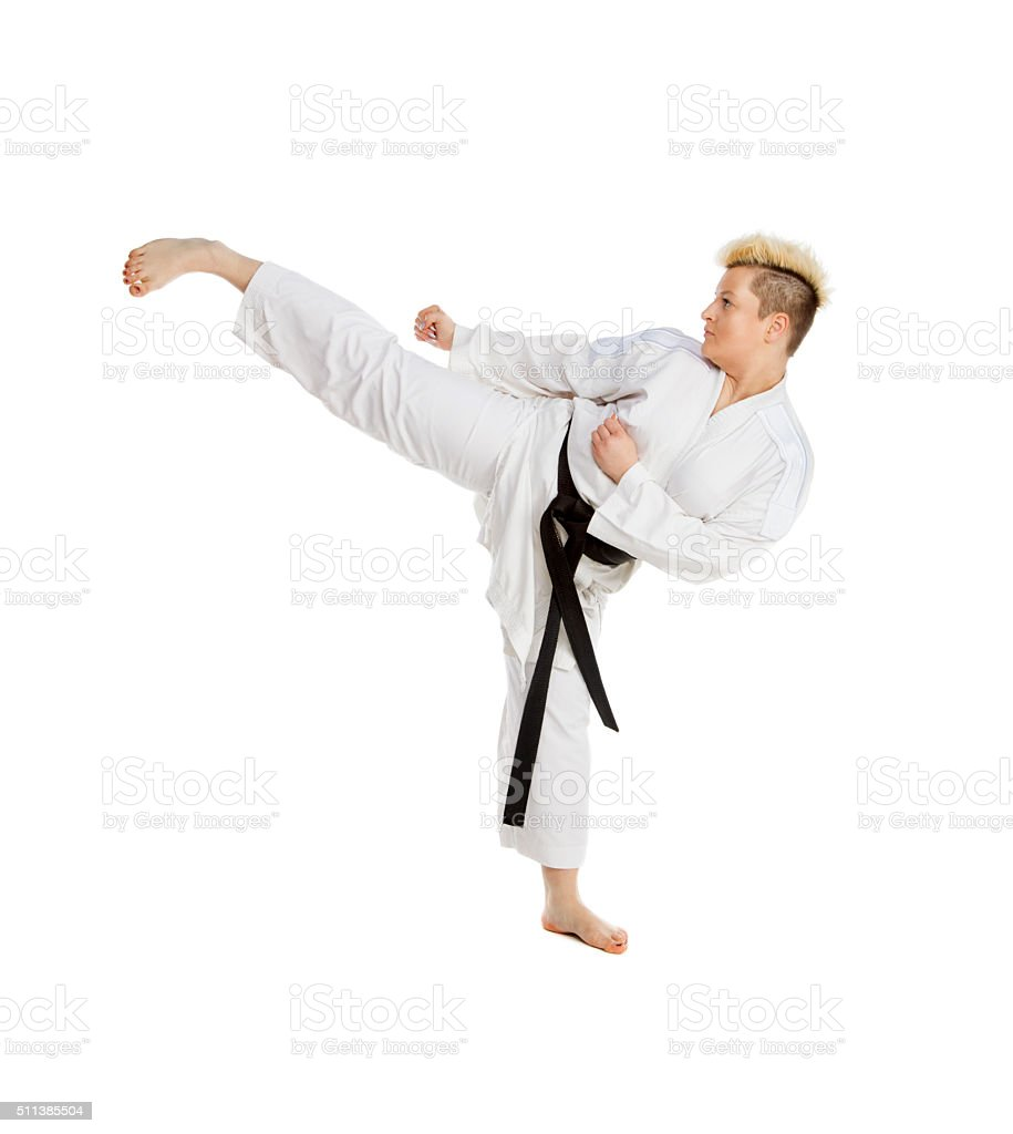 Practicing Karate stock photo