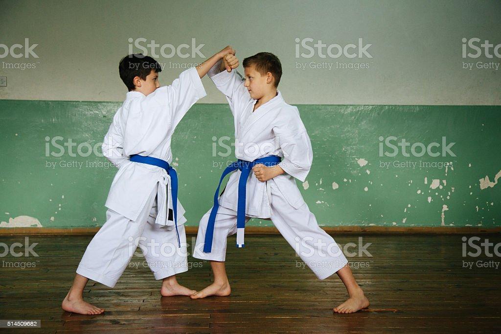 practicing karate stock photo