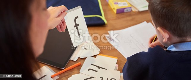 858130938 istock photo Practicing letters on flash cards 1208450399