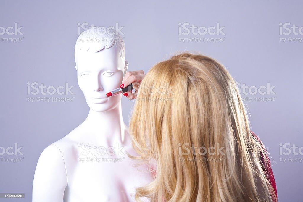 Practicing make-up stock photo