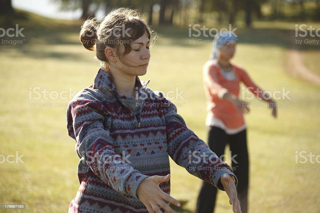 Practicing Qi Gong stock photo