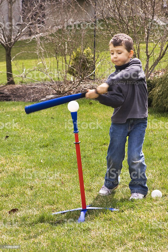 Practicing T-ball stock photo