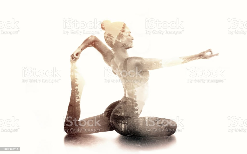 Practicing Yoga Double Exposure stock photo