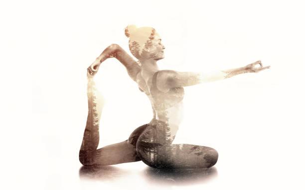Practicing Yoga Double Exposure stock photo