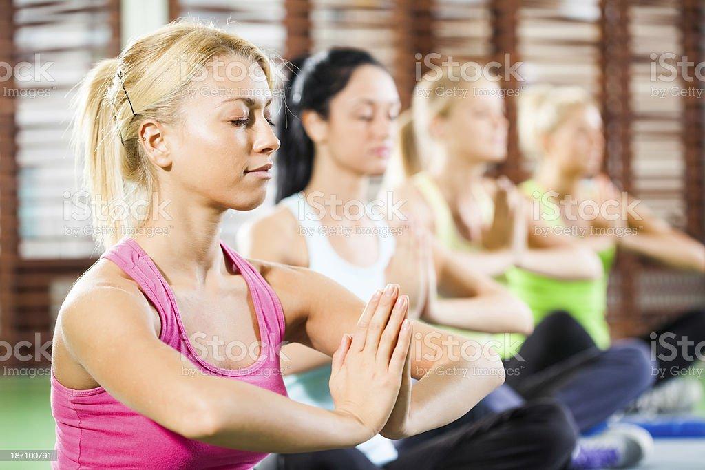 Practicing yoga royalty-free stock photo