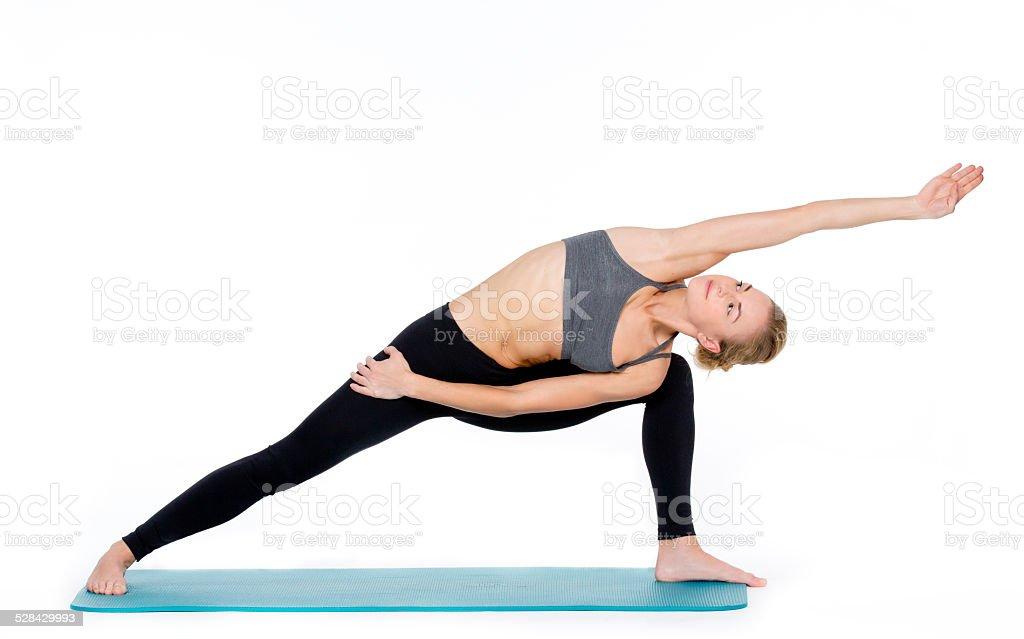 Practicing Yoga stock photo