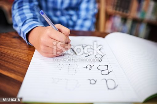 Shot of an unrecognisable young boy writing in a book at school