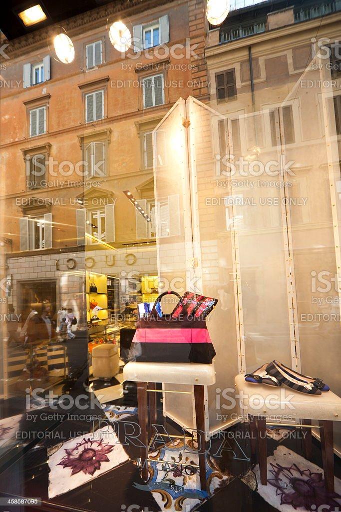 Prada, shop window in Rome, Italy. royalty-free stock photo