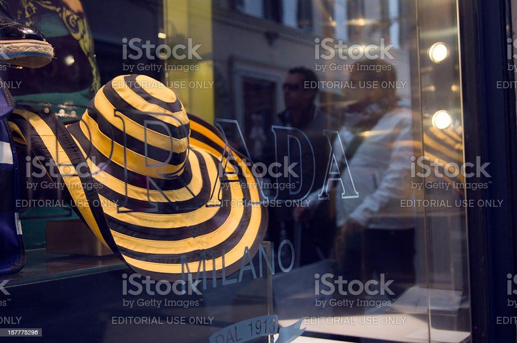 Prada window display in Via dei Condotti, Rome stock photo