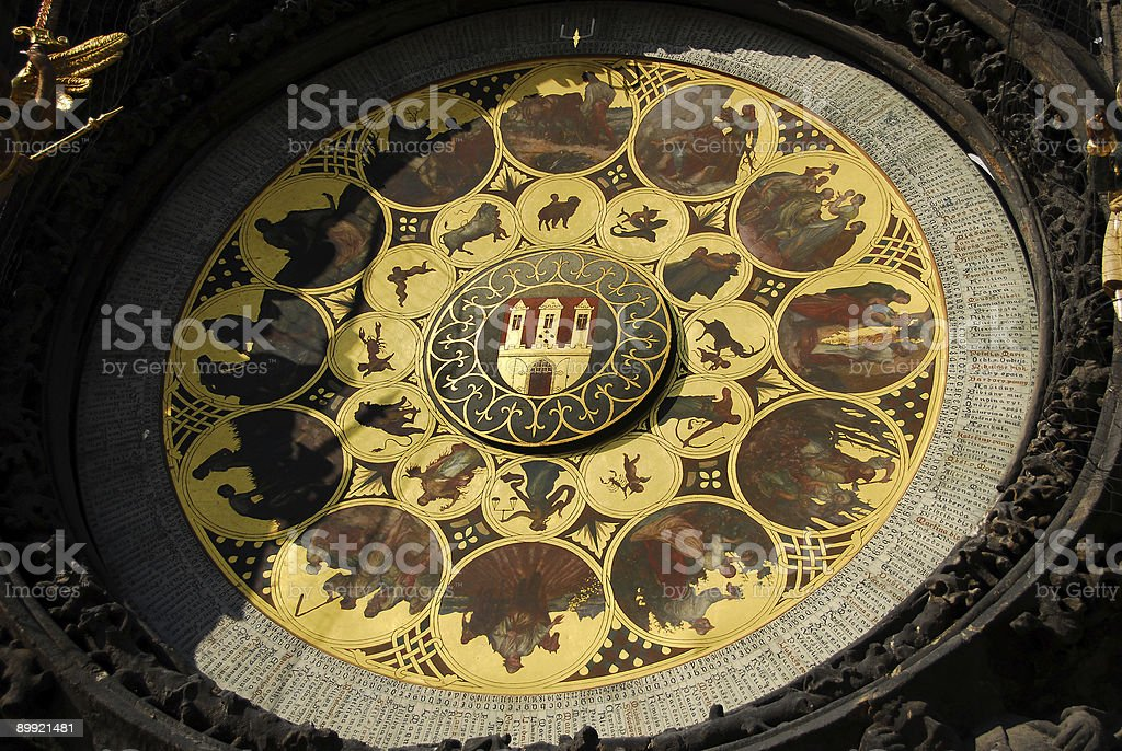 Prague Astronomical Clock Calendar stock photo