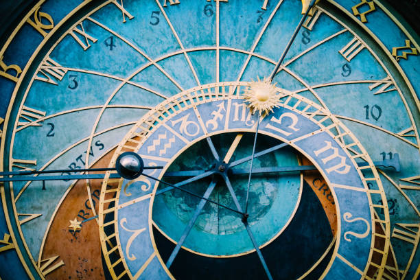 Prague astronomical clock, close up. Czech gothic architecture, famous medieval astrological clock. astronomical clock prague stock pictures, royalty-free photos & images