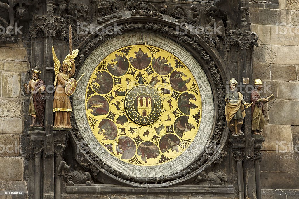 Prague Astronomical Clock details. royalty-free stock photo