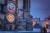 Prague Astronomical clock in old town square at dawn– Czech Republic