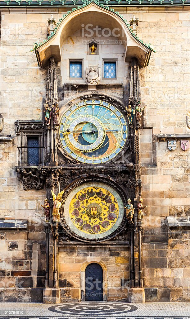Prague astronomical clock in Old Town Square stock photo