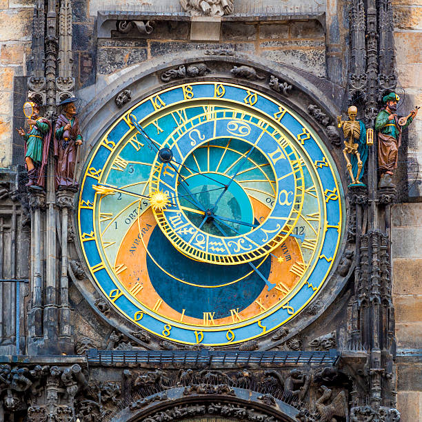 Prague Astronomical Clock (Orloj)  in Prague Prague Astronomical Clock (Orloj) in the Old Town Square in Prague, Czech Republic, Europe. Famous Landmarks in Praha astronomical clock prague stock pictures, royalty-free photos & images