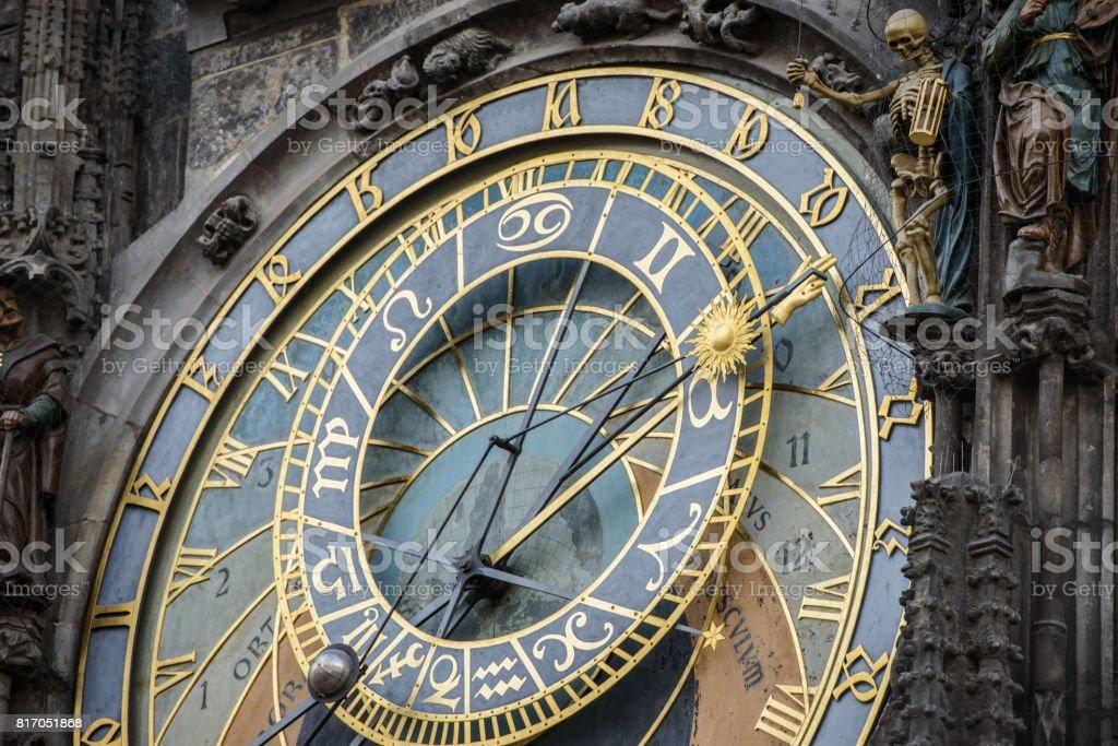 Prague Astronomical Clock (Orloj) in the Old Town of Prague, Czech Republic stock photo