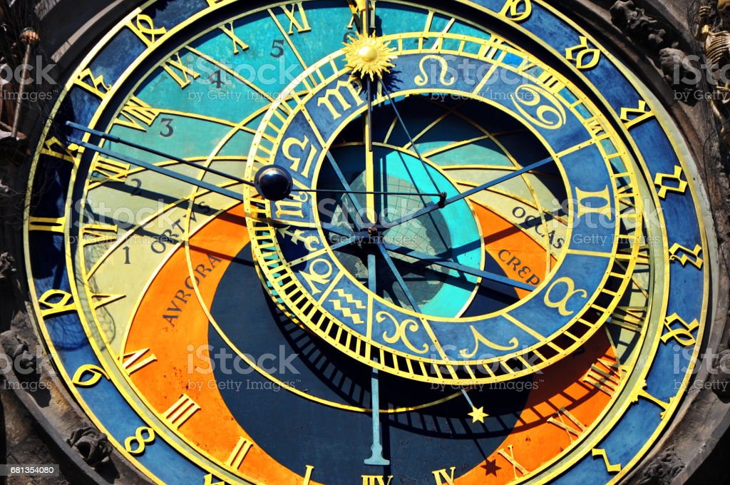 Prague Astronomical Clock in the Old Town of Prague stock photo