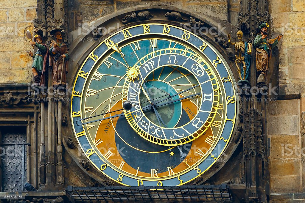 Prague Astronomical Clock (Orloj) in the Old Town Square stock photo
