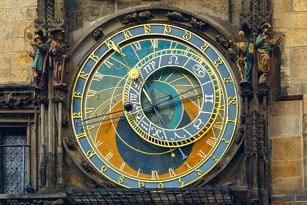 Prague Astronomical Clock (Orloj) in the Old Town Square Prague Astronomical Clock (Orloj) in the Old Town Square, Czech republic astronomical clock prague stock pictures, royalty-free photos & images