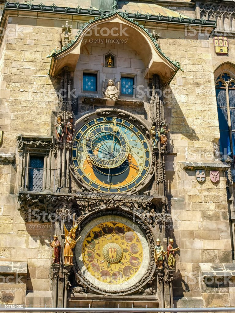 Prague astronomical clock on south facade of Old Town Hall stock photo