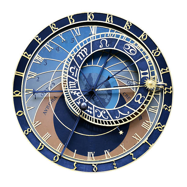 Prague Astronomical Clock Astronomical Clock XXL size. Prague, Czech Republic. Isolated on white background with clipping path astronomical clock prague stock pictures, royalty-free photos & images