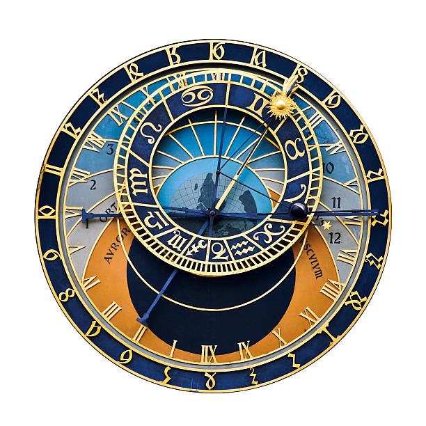 Prague astronomical clock World famous Prague astronomical clock (isolated on white) astronomical clock prague stock pictures, royalty-free photos & images