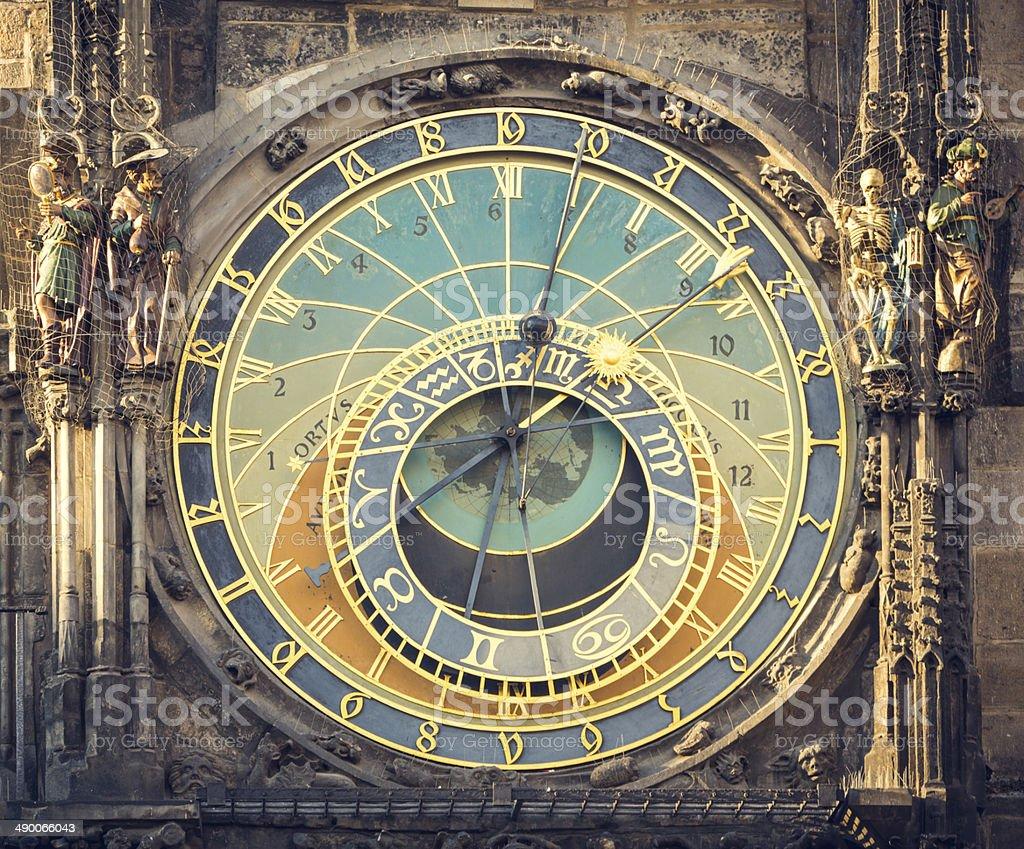 Prague astronomical clock stock photo