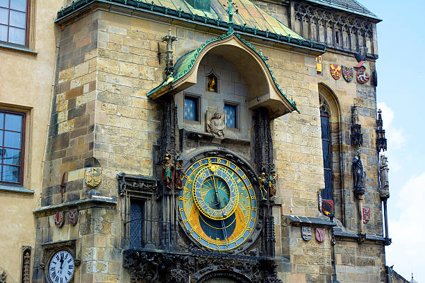 Prague Astronomical Clock Prague, Czech Republic. The famous astronomical clock in Prague's Old Town Square.  astronomical clock prague stock pictures, royalty-free photos & images