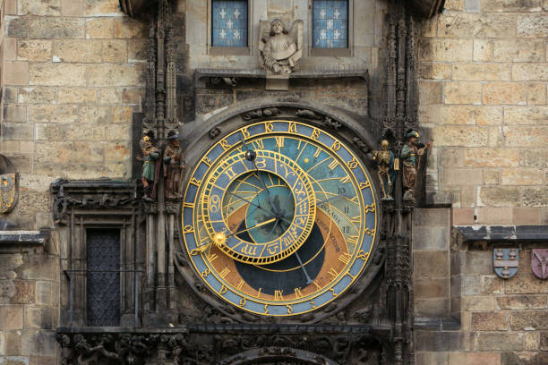 Prague Astronomical Clock Prague Astronomical Clock with no tourists astronomical clock prague stock pictures, royalty-free photos & images