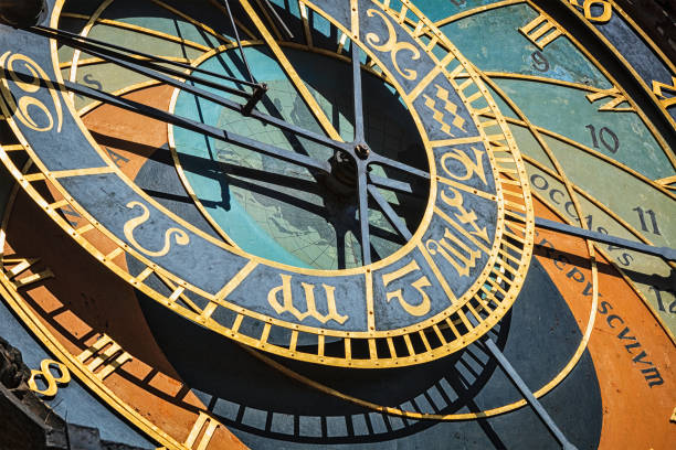 Prague astronomical clock Famous astronomical clock on Town Hall. Prague, Czech Republic. The text is is occasus (sunset), and crepusculum (twilight) astronomical clock stock pictures, royalty-free photos & images