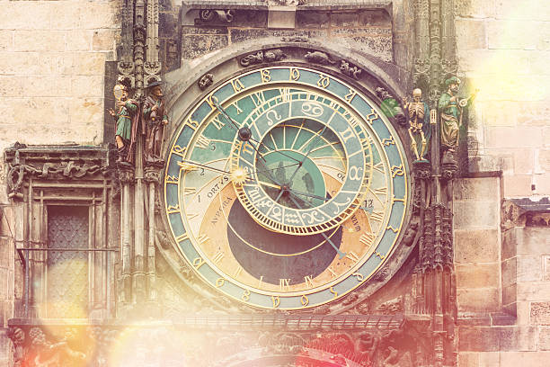Prague Astronomical Clock (Orloj)  - vintage style Prague Astronomical Clock (Orloj) in the Old Town Square in Prague, Czech Republic, Europe. Famous Landmarks in Praha. Vintage style toned astronomical clock prague stock pictures, royalty-free photos & images