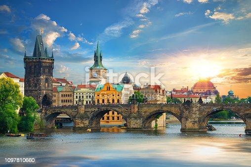 Tha Charles Bridge in Prague at summer day