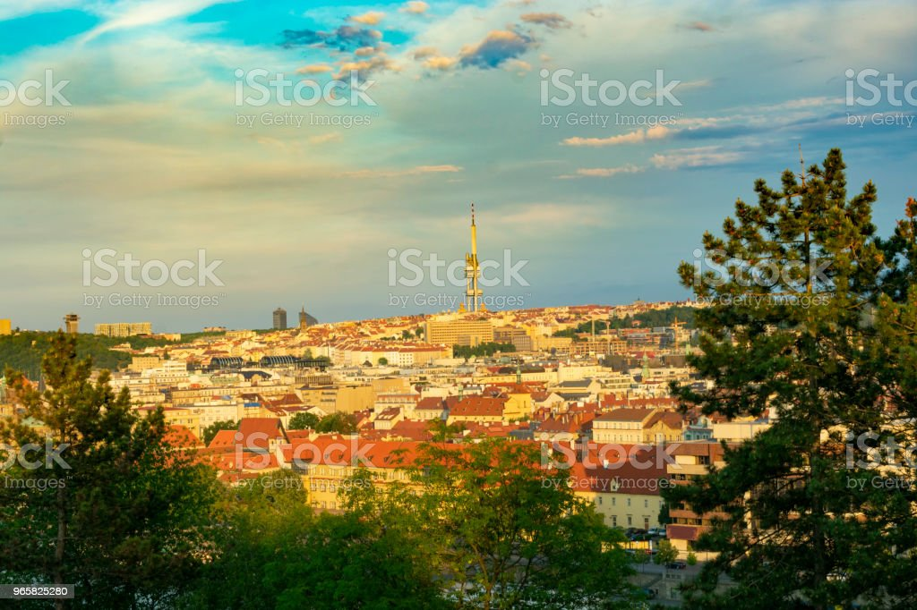 Prague at sunset overlooking the television tower - Royalty-free Aerial View Stock Photo