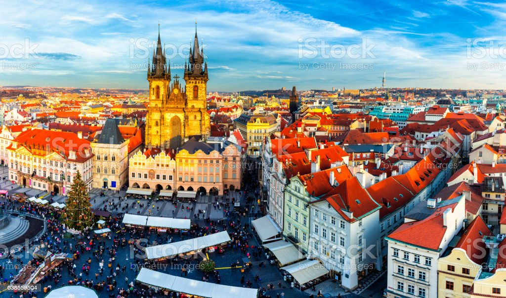 Prague at sunset, panoramic view, image of Prague stock photo