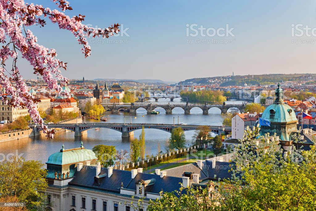 Prague at sunset stock photo