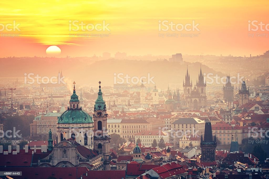 Prague at the sunrise stock photo
