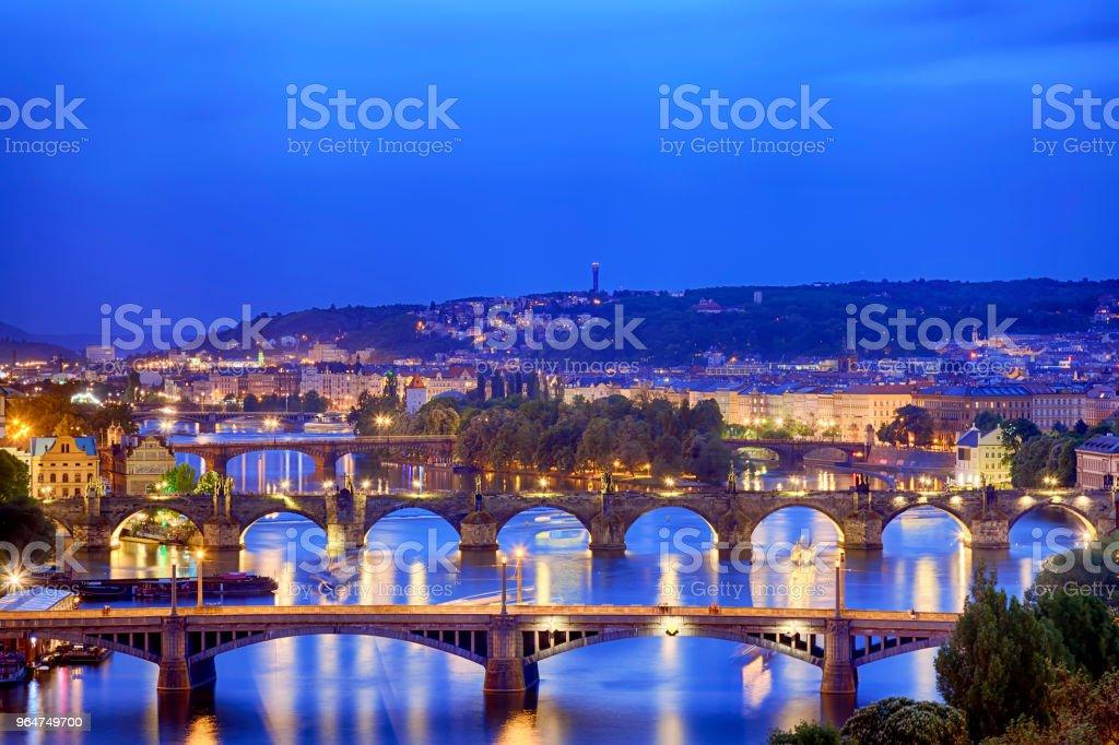 Prague at twilight blue hour, view of Bridges on Vltava royalty-free stock photo