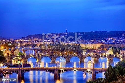 Prague At Twilight Blue Hour View Of Bridges On Vltava Stock Photo & More Pictures of Architecture