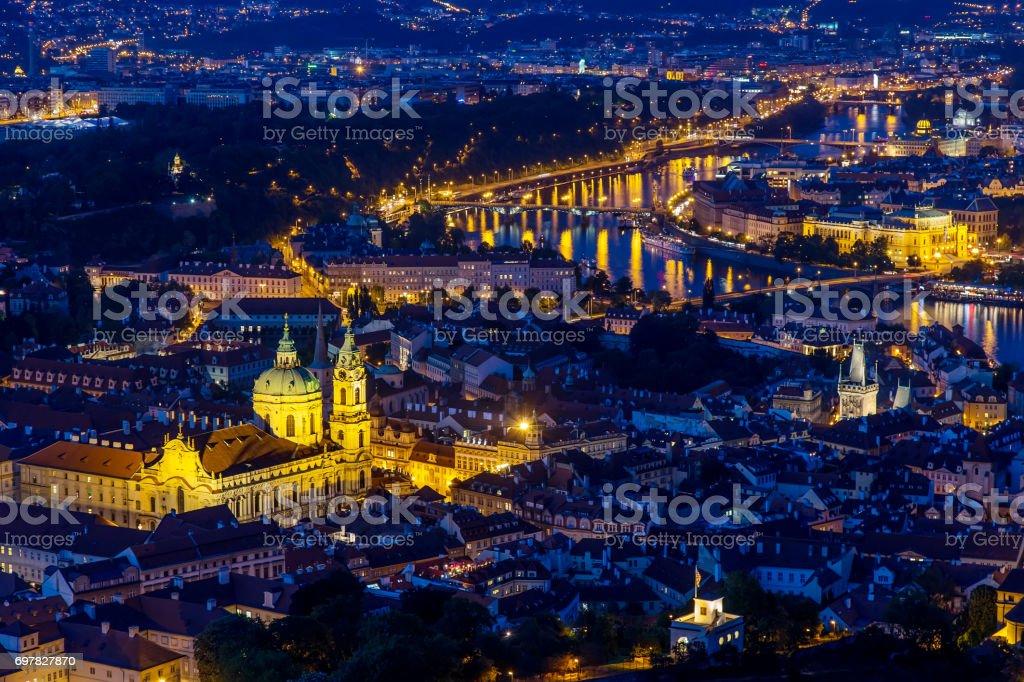Prague at twilight blue hour, view of Bridges on Vltava with Mala Strana, Prague Castle stock photo