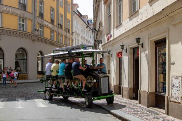 Prague Beer Bike stock photo