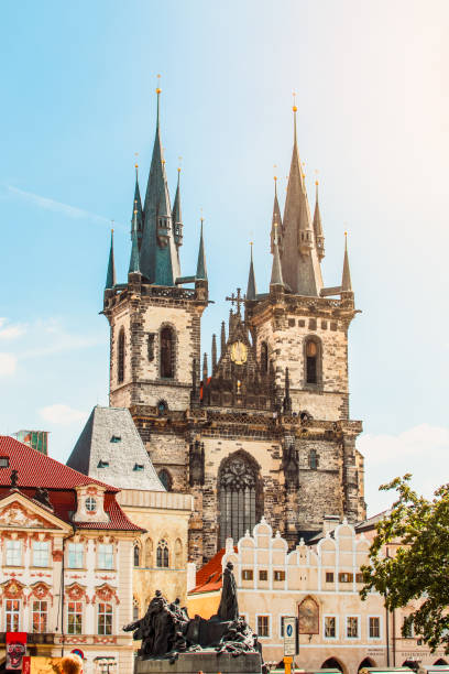 Prague, Bohemia, Czech Republic. Old town cityscape of Praha with Church of our lady before Tyn. Gothic construction. Tower, Old town, Square, Church, Gothic tyn church stock pictures, royalty-free photos & images