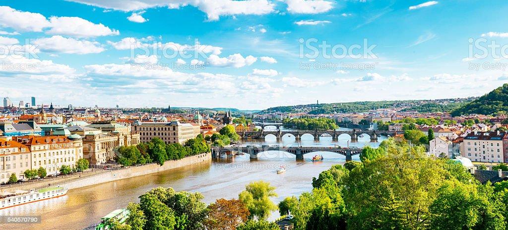 Prague bridges on Vltava, panorama stock photo