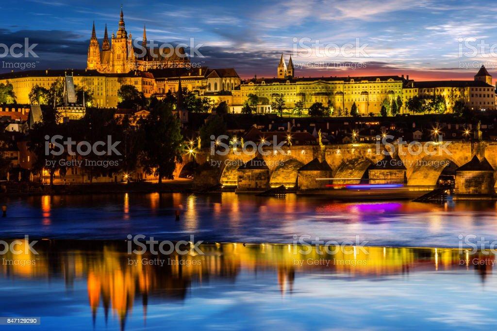 Prague Castle after sunset. Europe, Czech republic stock photo