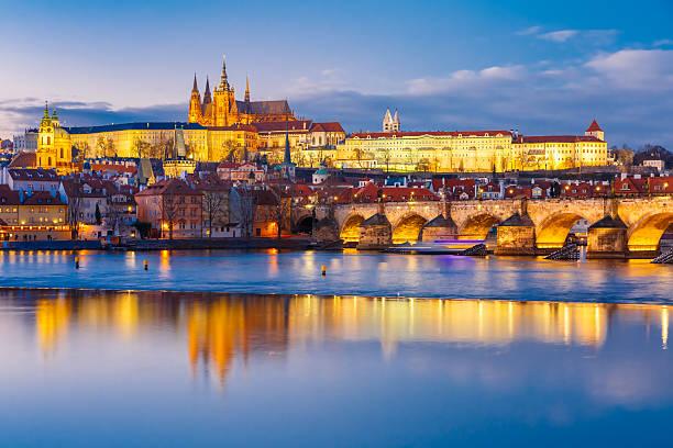 Prague Castle and Charles Bridge, Czech Republic stock photo