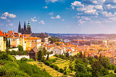 istock Prague Castle and Lesser Town panorama. View from Petrin Hill. Prague, Czech Republic. Spring Prague panorama from Prague Hill with Prague Castle, Vltava river and historical architecture. Czechia. 1146670555