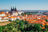 istock Prague castle and St. Vitus Cathedral from Petrin hill in Czech Republic 968328902