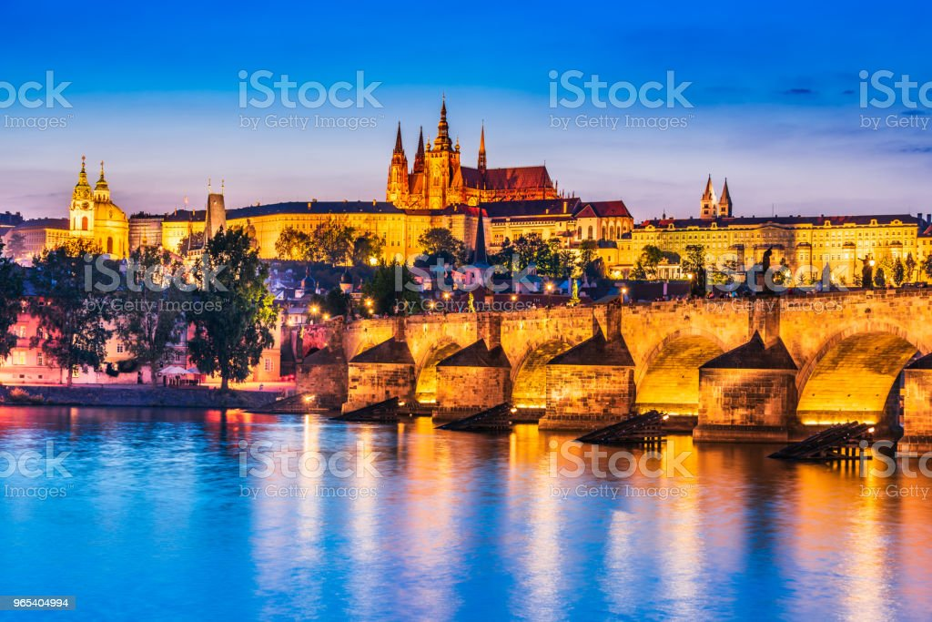 Prague Castle, Charles Bridge in Czech Republic royalty-free stock photo